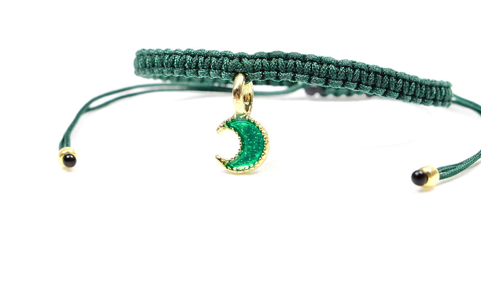 Makramee Grün Glitzer Mond Armband/Fußkette