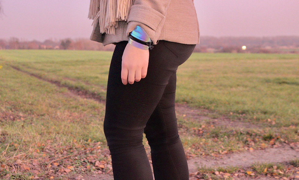 Gelenktasche  Reflektor Regenbogen Schwarz  Gelenk Tasche - hannisch