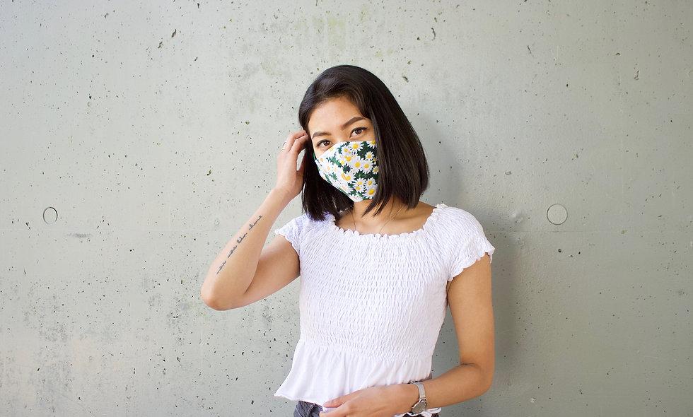 Gänseblümchen Wiese Baumwolle Maske- hannisch