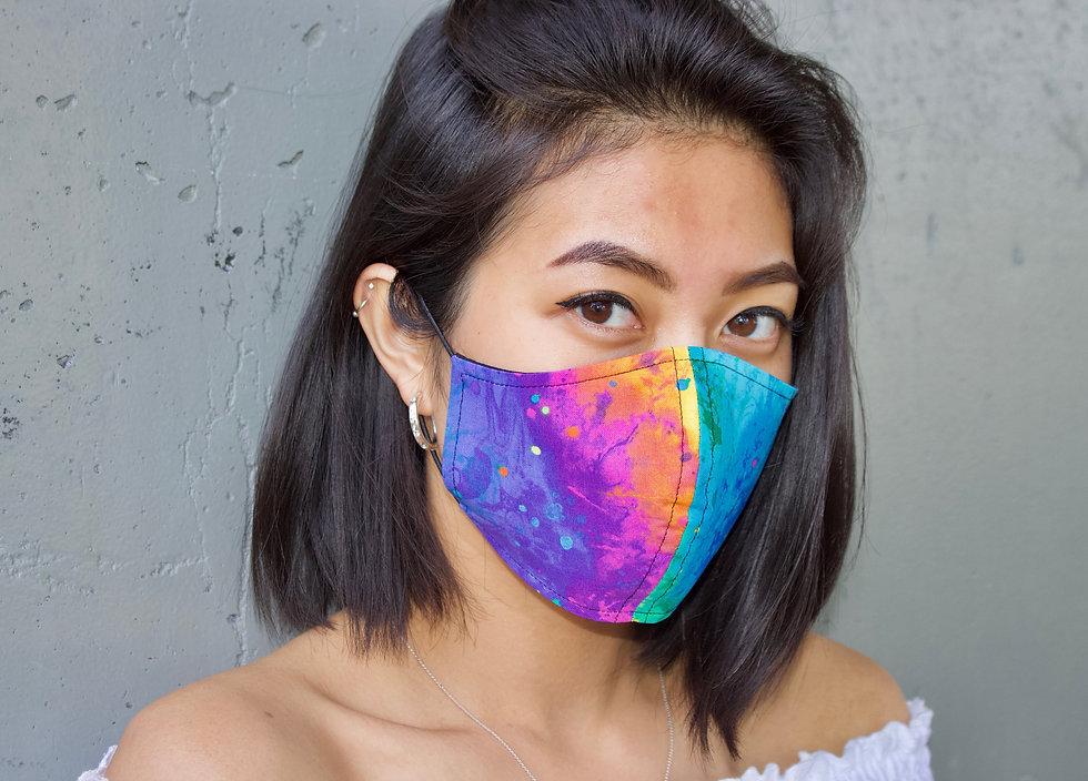 Regenbogen Malerei Baumwolle Maske- hannisch