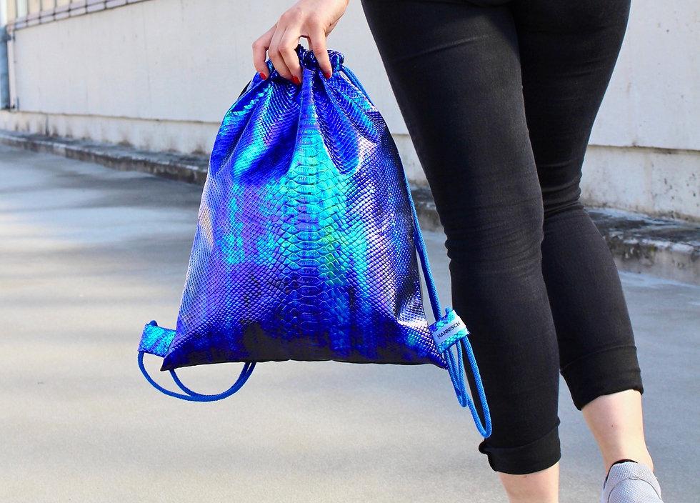 Holographic Kroko Grün Blau Gym Bag - hannisch