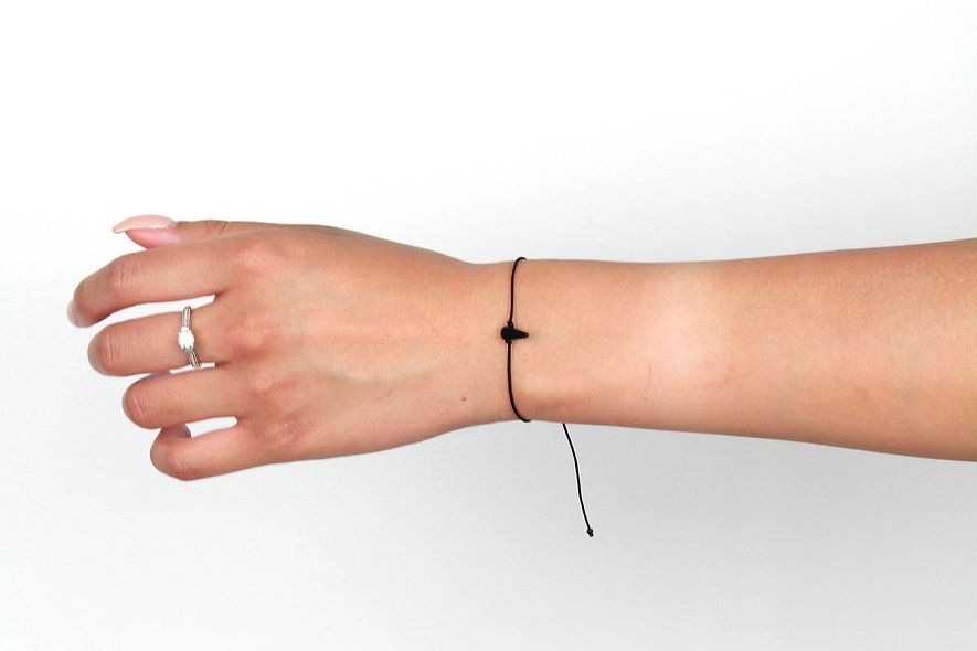 Kordel Horn Schwarz Glasperlen Armband/Fußkette