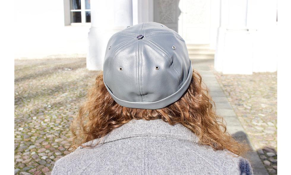 Leder Imitat Grau Docker Cap mit Tasche- hannisch