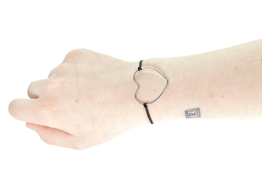 Kordel Draht Herz Silber Armband/Fußkette