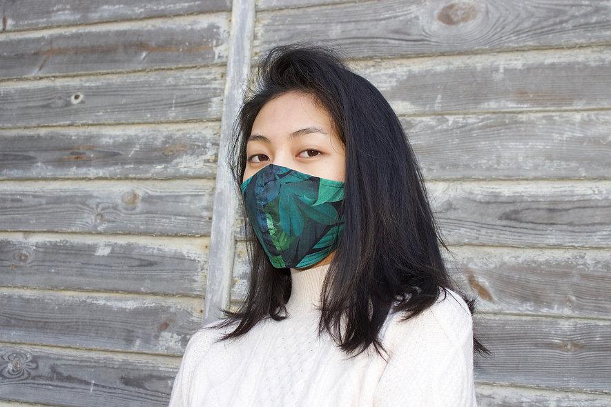 Dschungel Blätter Grün Baumwolle Maske- hannisch
