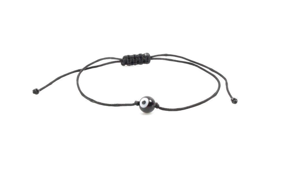 Kordel Evil Eye Schwarz Rund Perle Armband/Fußkette