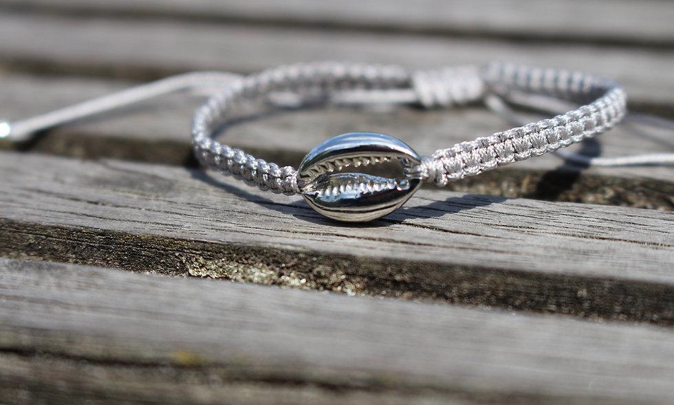 Makramee Muschel Silber Armband/Fußkette