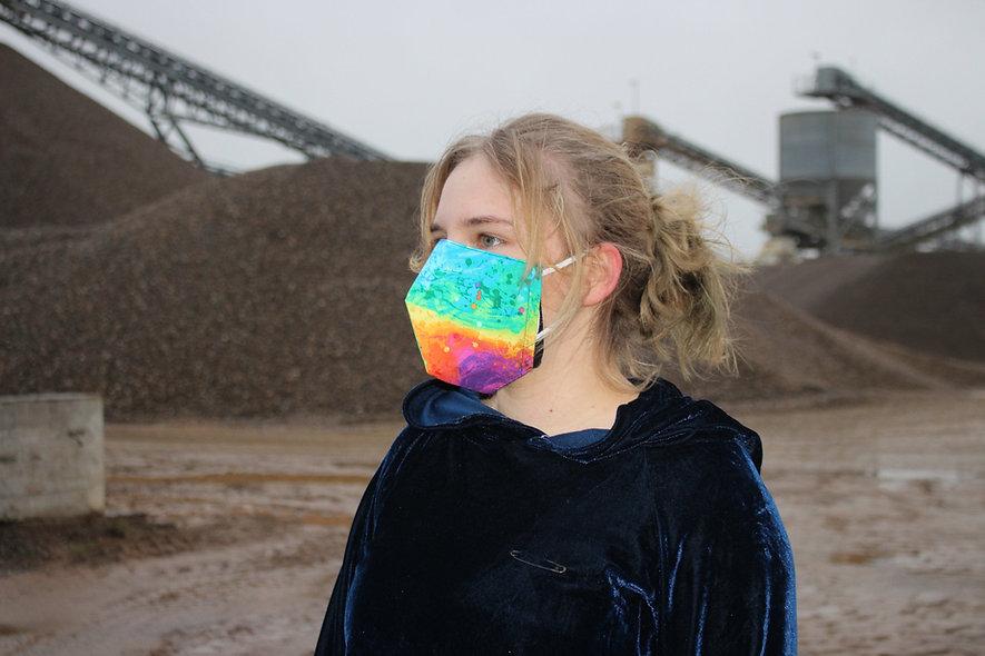Regenbogen Baumwolle FFP2 & KN95 Masken Überzieher- hannisch