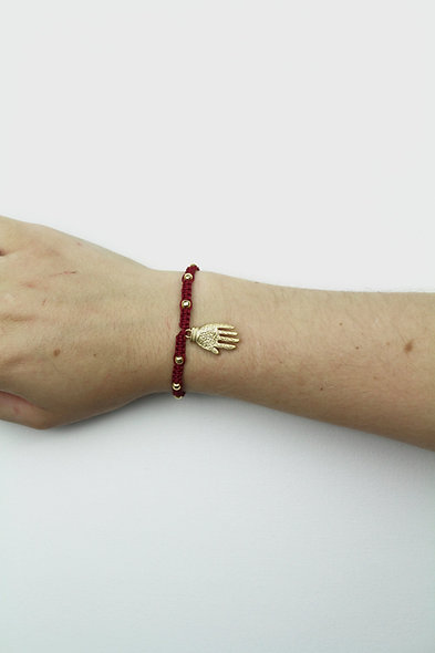 Makramee Hand Gold Perlen  Armband/Fußkette