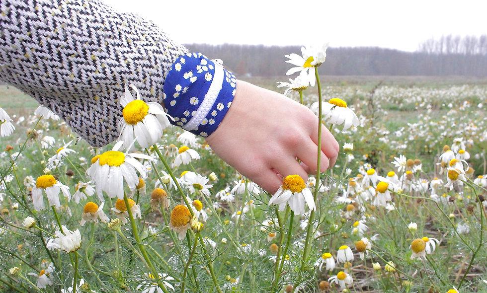 Gelenktasche  Baumwolle Bedruckt Gänseblümchen Gelenk Tasche - hannisch