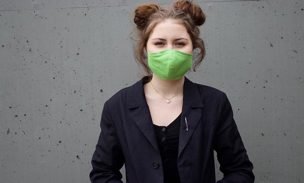 Gras Grün Baumwolle Maske- hannisch