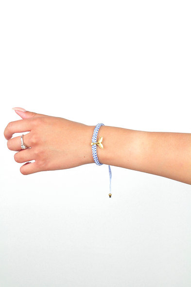 Gold Flosse Breit Makramee  Armband/Fußkette