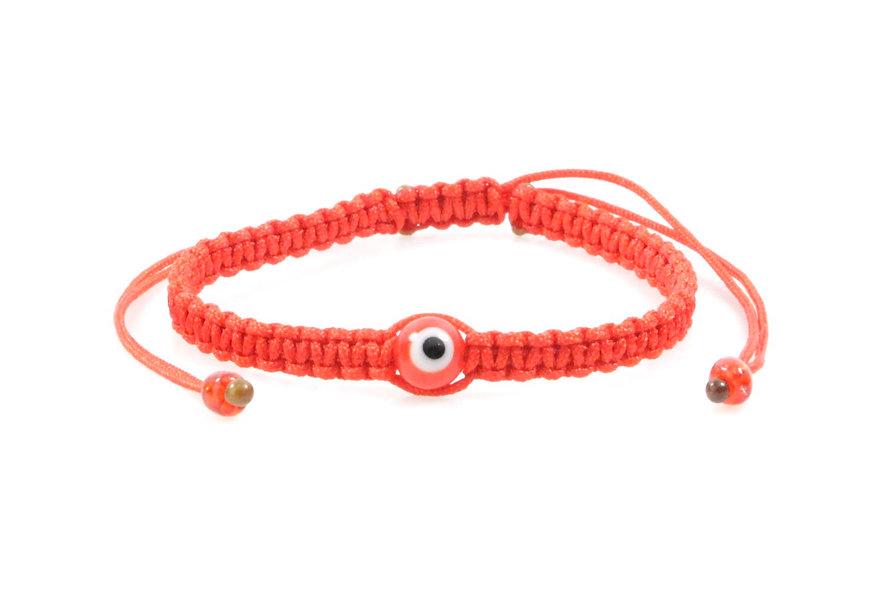 Makramee Evil Eye Rot Perle Kugel Armband/Fußkette