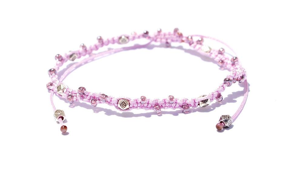 Makramee Winzige Lila Perlen Silber  Armband/Fußkette