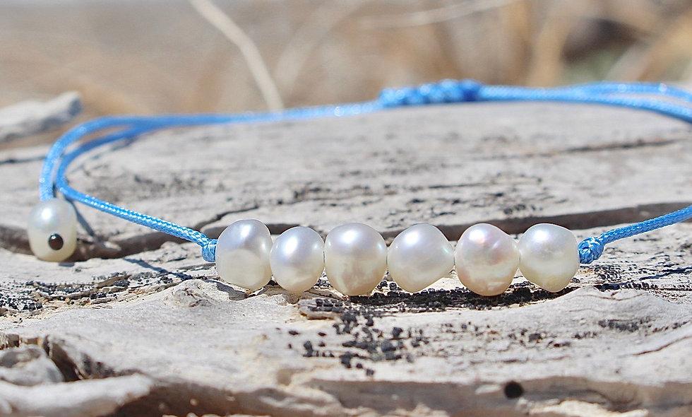 Kordel 6er Perlmutt Süßwasserperle Weiß Klein Armband/Fußkette