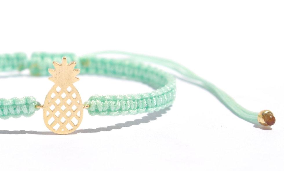 Makramee Ananas Gold Anhänger Armband/Fußkette