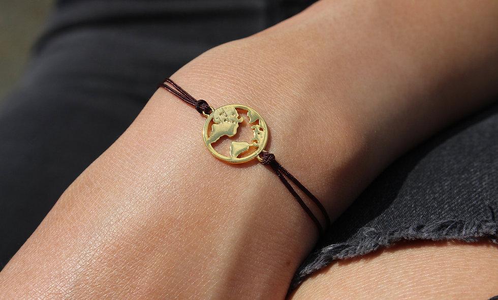 Kordel Weltkarte Gold Armband/Fußkette