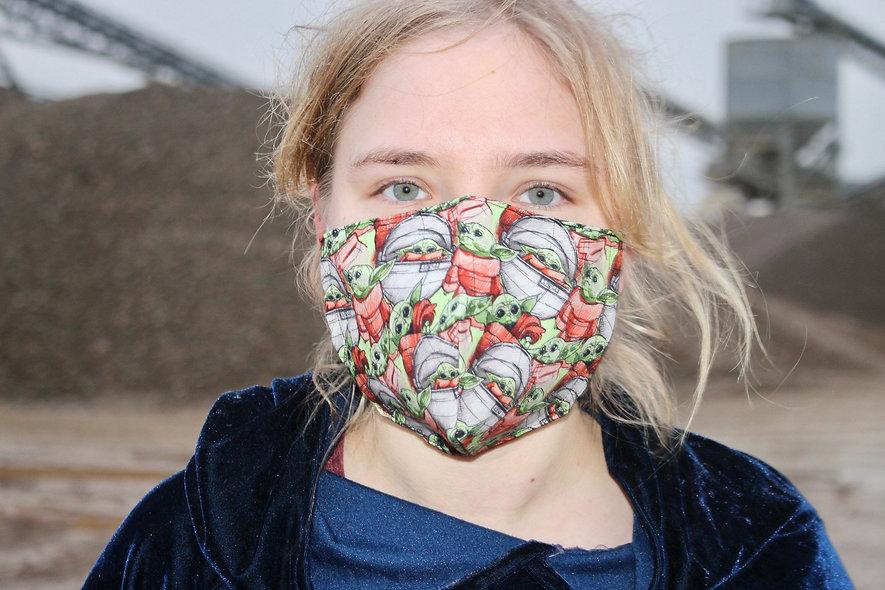 BabyYoda Baumwolle FFP2 & KN95 Masken Überzieher- hannisch