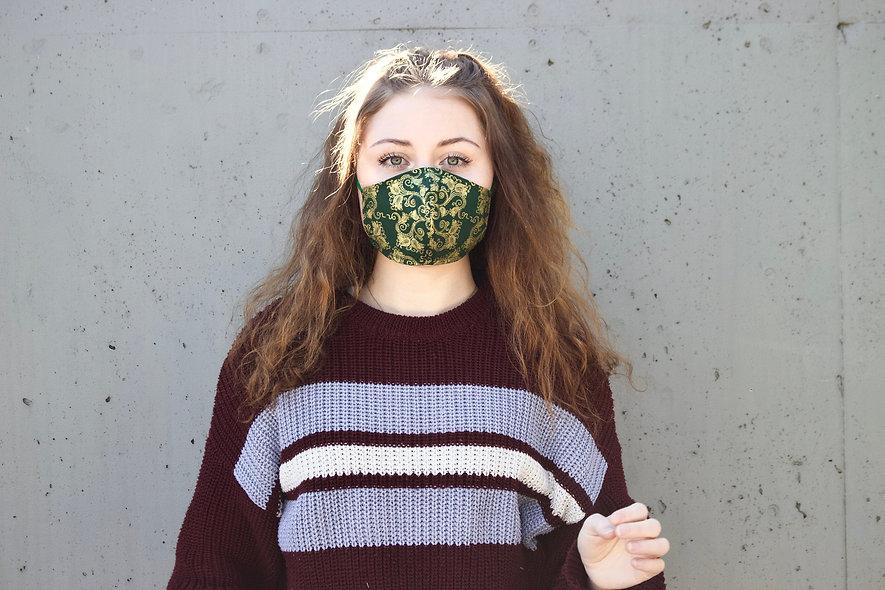 Grün Gold Ornament Maske- hannisch