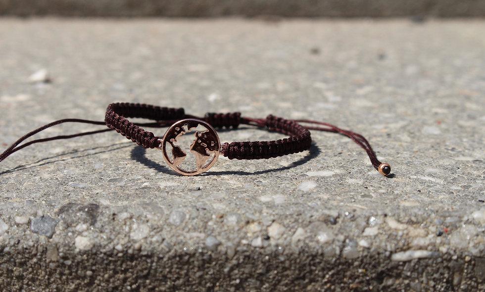 Makramee Weltkarte Rosé Gold Armband/Fußkette