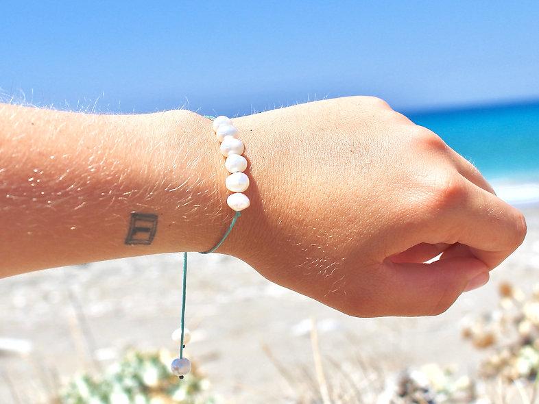 Kordel 6er Perlmutt Süßwasserperle Weiß Groß Armband/Fußkette