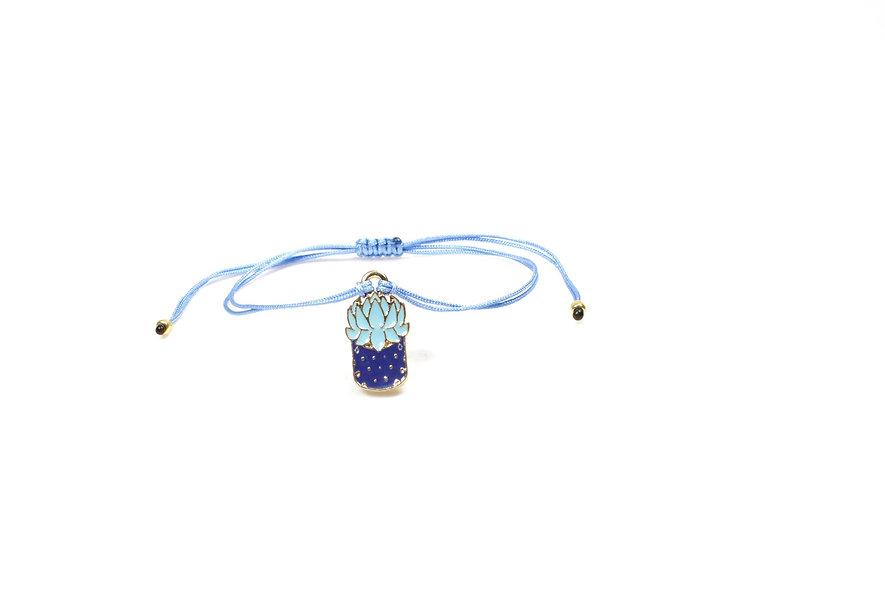 Kordel Sukkulente Kaktus Blau Mint Gold Armband/Fußkette