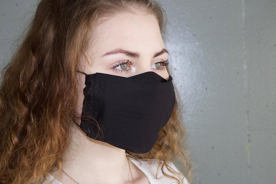 Schwarz Baumwolle Flap Maske- hannisch