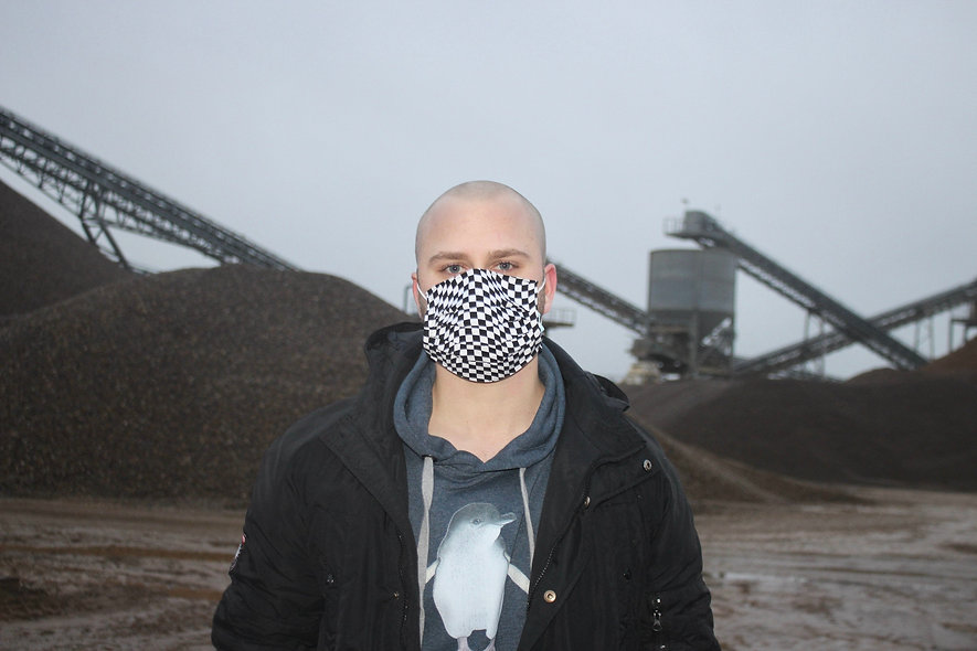 Wavy Karo Schwarz Weiß Baumwolle OP- Masken Überzieher- hannisch