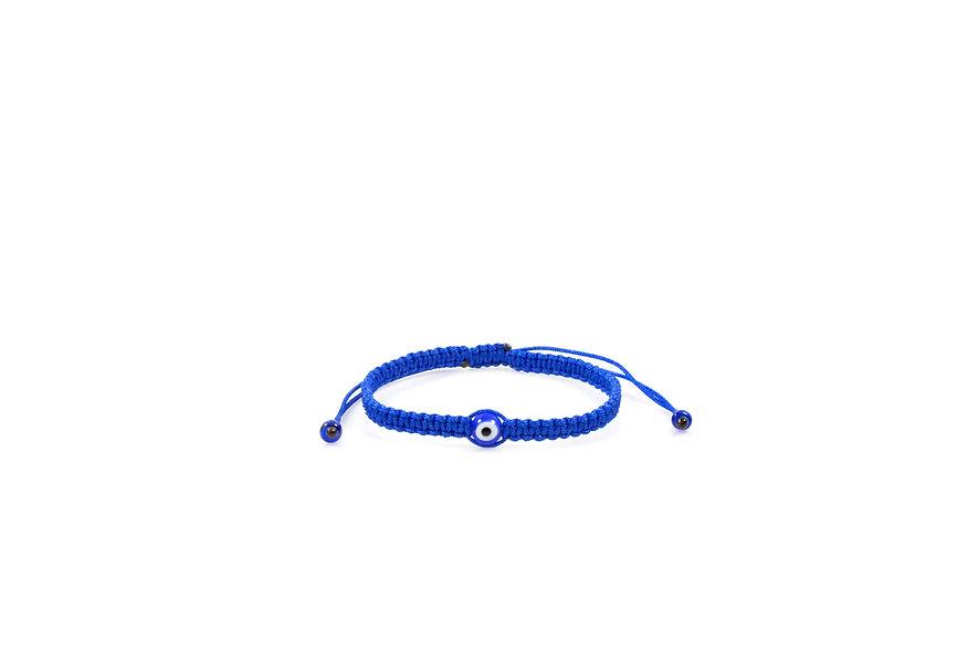 Makramee Evil Eye Blau Perle Kugel Armband/Fußkette