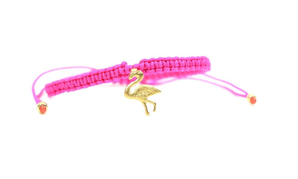 Makramee Flamigo Gold  Armband/Fußkette