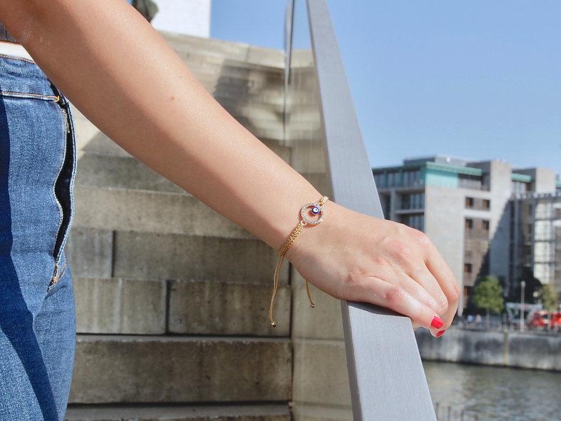 Makramee Evil Eye Ring Gold Armband/Fußkette