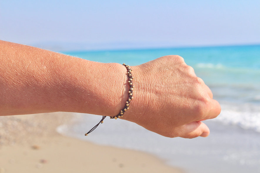 Makramee Perlen Gold Armband/Fußkette