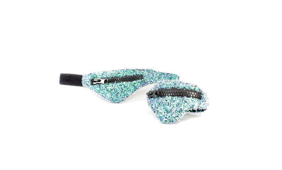 Gelenktasche  Fuzzy Glitter Türkis Holo Gelenk Tasche - hannisch