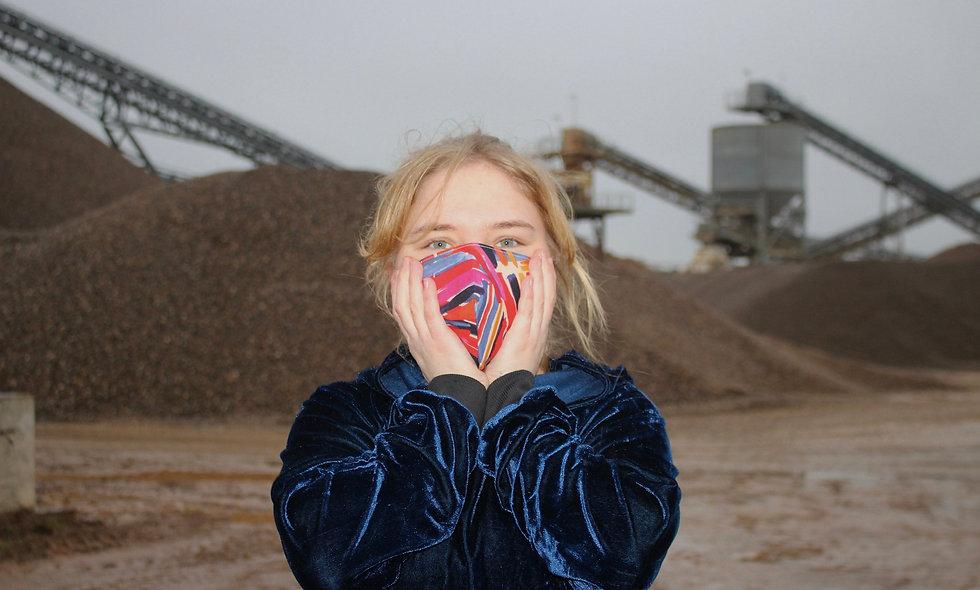 Malerei Rot Blau Baumwolle FFP2 & KN95 Masken Überzieher- hannisch