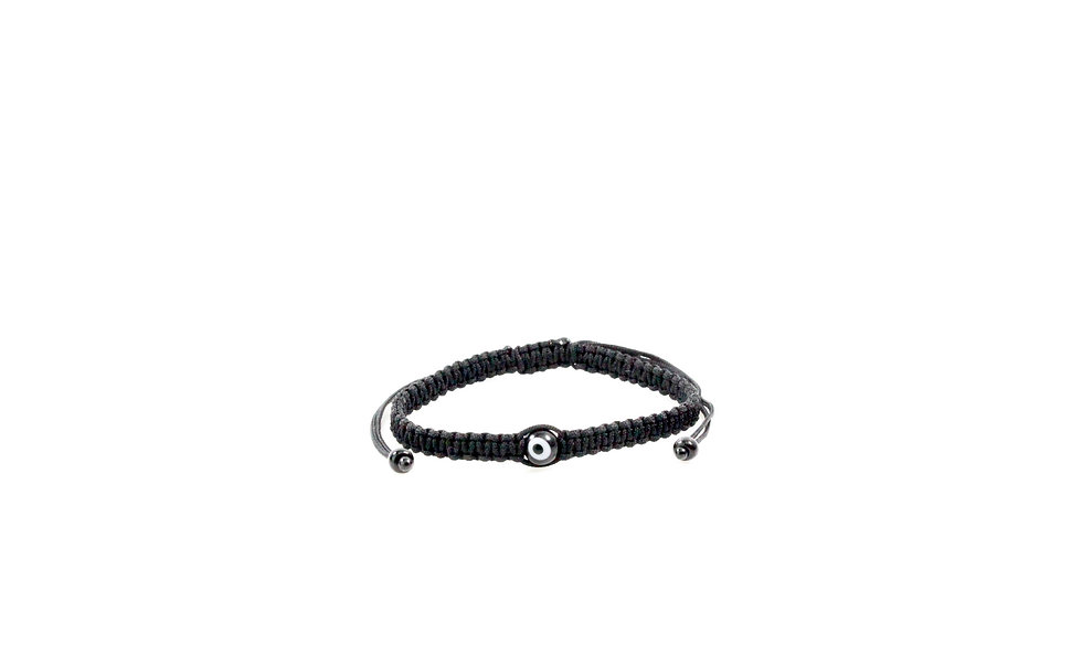 Makramee Evil Eye Schwarz Perle Kugel Armband/Fußkette