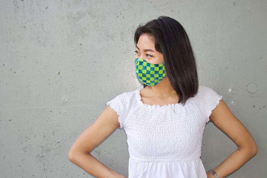 Karo Blau GrünBaumwolle Maske- hannisch