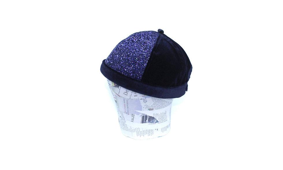 Glitter Holo Blau Samt Schwarz Docker Cap - hannisch