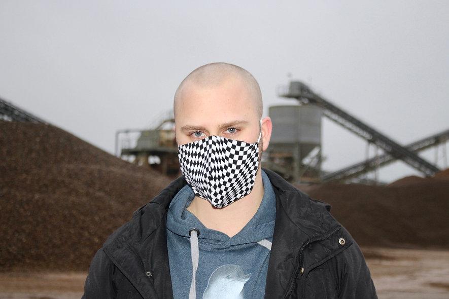 Wavy Karo Weiß Schwarz Baumwolle FFP2 & KN95 Masken Überzieher- hannisch