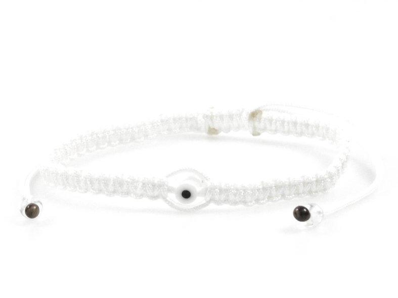 Makramee Evil Eye Transparent Perle Flach Armband/Fußkette