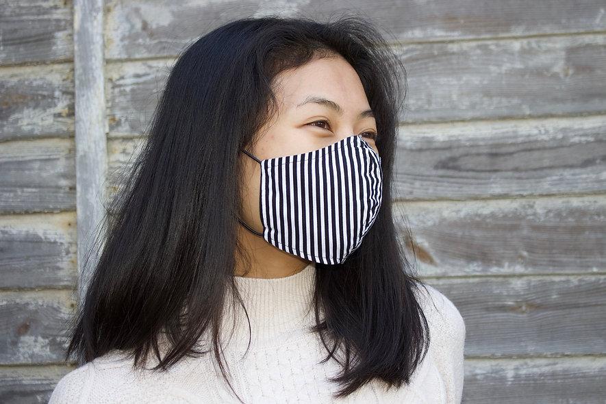 Streifen Schwarz Weiß Baumwolle Maske- hannisch