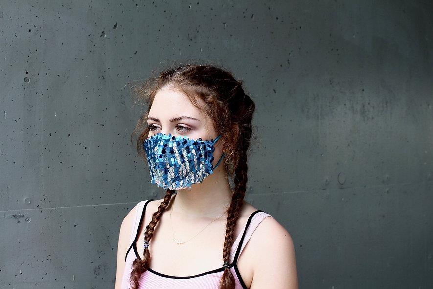 Pailletten Türkis Silber Maske- hannisch