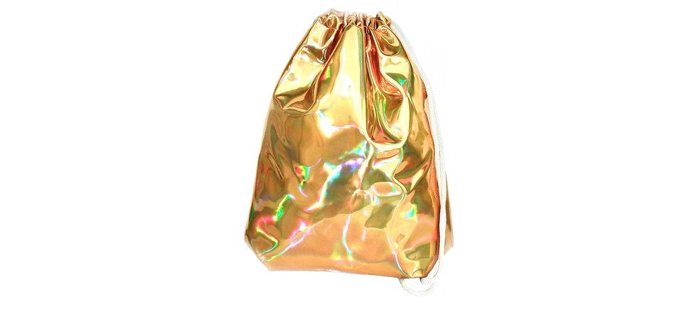 Holographic Leather Gold Gym Bag - hannisch