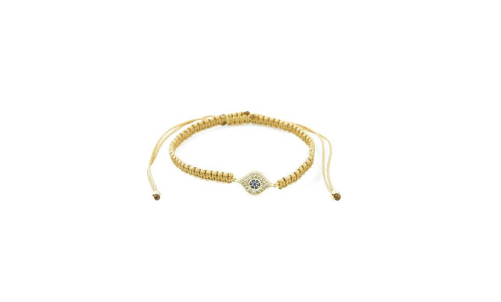 Makramee Evil Eye Zirkonia Gold Armband/Fußkette