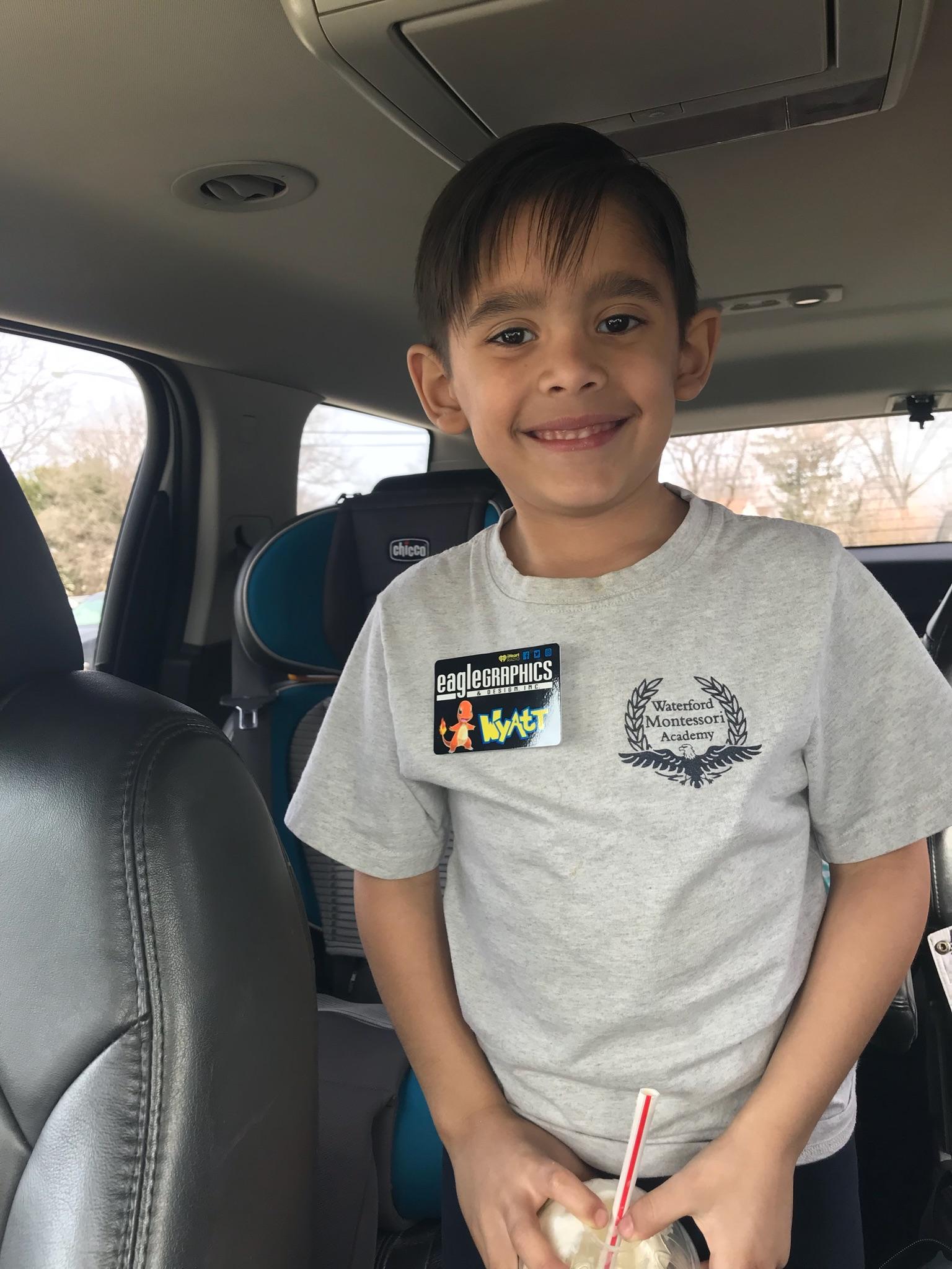 Wyatt loves his new name tag!