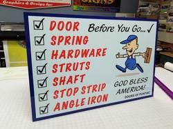 Check List Sign Doors of Pontiac
