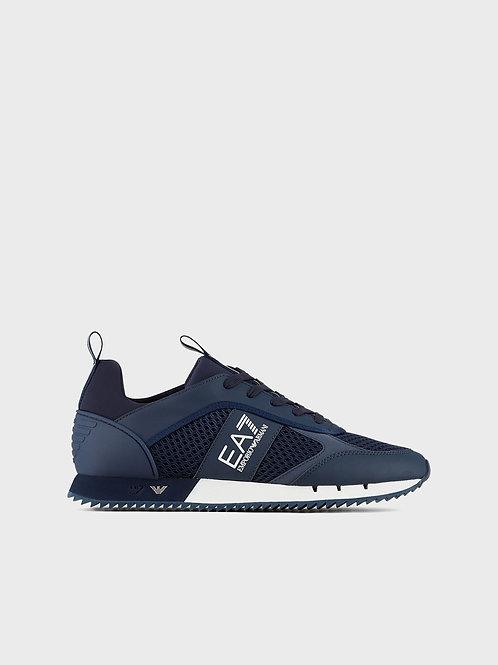 Sneakers Black&White Laces in mesh con loghi metallici nella suola