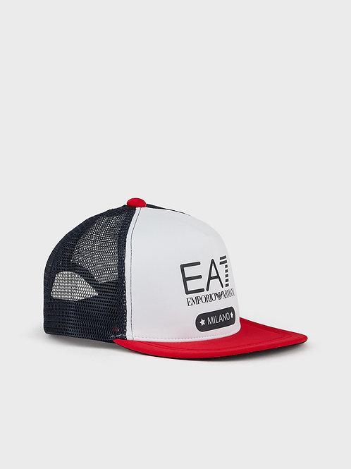 Cappello bicolor con visiera e logo
