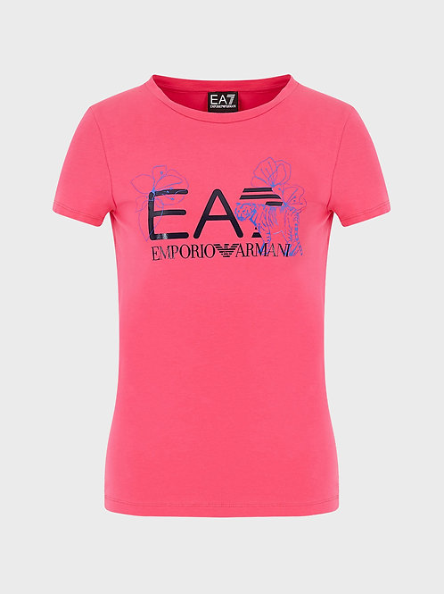 T-shirt con stampa logo e fiori
