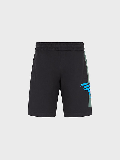 Shorts in felpa con stampa aquila