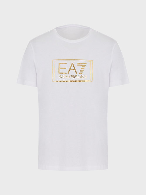 T-shirt in jersey con stampa metal
